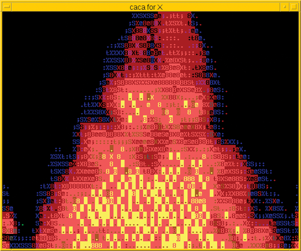 The art of letters linux magazine figure 1 a small demo program called cacafire sets fire to the terminal ccuart Choice Image