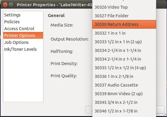 Label maker linux magazine figure 4 ubuntu detects the label printer and serves up the label size configuration options stopboris Choice Image