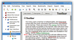 Figure 5: The app's own manual (CherrytreeManual.ctb, from the website) is a CherryTree document that demonstrates the power of the program.