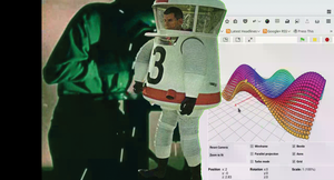 Figure 1: Mr. Spaceman walks across the screen, uncovering a new scene in his wake.