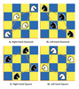 Figure 2: Any chessboard quadrant can be filled with 16 knights arranged in four shapes: 2a is the right-hand diamond, 2b the left-hand diamond, 2c the right-hand square, and 2d the left-hand square.