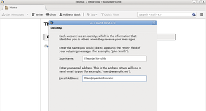 Figure 1: Thunderbird's account wizard does not require a working email address with most Usenet providers.