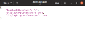 Figure 1: Editing TaskBook's configuration file.