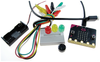 Figure 1: The micro:bit with connecting cables, a breadboard, and components.