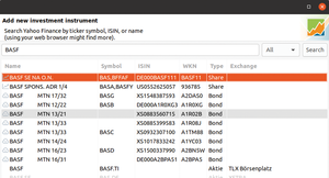 Figure 4: You add new values via a selection dialog. The search supports multiple stock exchanges.