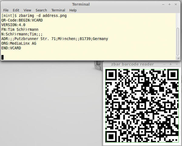 Generating qr codes in linux linux magazine figure 9 zbar delivers all stored address data and even detects the vcard format used unfortunately it does not fully understand utf 8 reheart Gallery