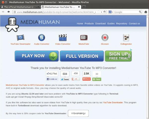 ubuntu youtube download mp3