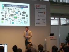 Jim Zemlin at his talk at CeBIT 2010.