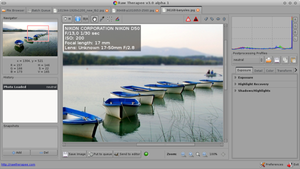 Free Therapy: RawTherapee as of Version 3 0 Und    » Linux